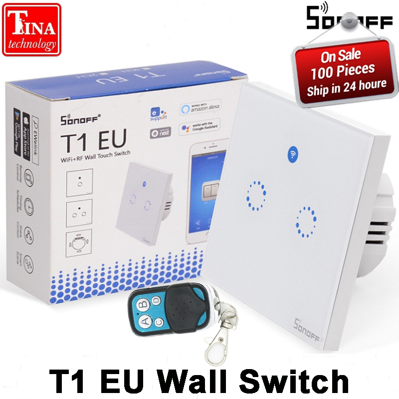 Sonoff T1 Smart WiFi RF / APP / Touch Control Wall Light Switch 1 /2 /3 Gang 86 Type EU Panel Wall Touch Light Switch Smart Home vhome smart home 86 type touch dimmer switch 280ma 5a wall led light dimming color rf433mhz switch dimmable spot lights