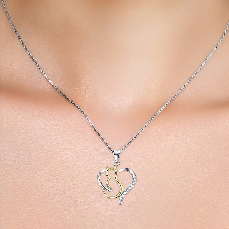 925 sterling silver cat and heart necklace