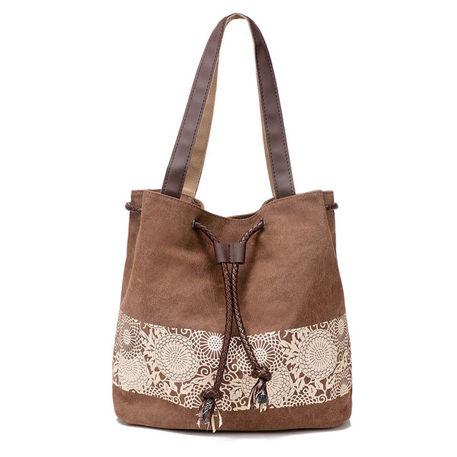 Fashion Women Canvas Crossbody Bags Flower Shoulder Bag Female Big Capacity Drawstring Tote Casual Shopping Handbag 2