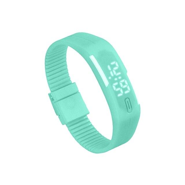Sports Silicone Rubber White LED Digital Watch Bracelet Men Women Mint Green