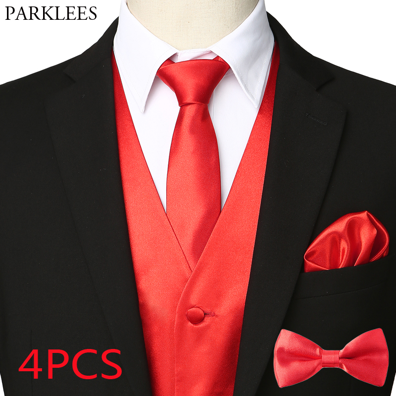 Mens 4pcs Red Silk Satin Tuxedo Vest Set Necktie Pocket Square Bowtie 2019 Brand Party Wedding Formal Business Waistcoat Men 3XL