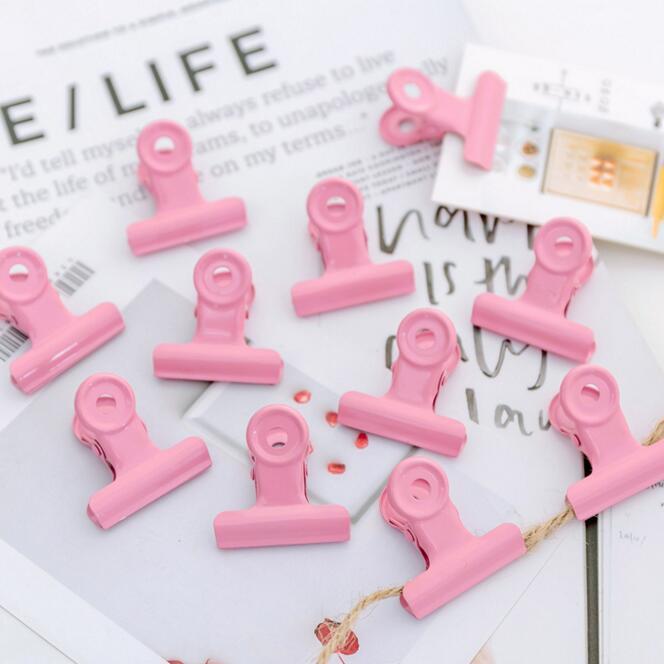 5pcs/set Kawaii Vintage Japanese Harajuku Metal Pink Clamp Paper Clip Wall Photo Cards Decorative Binder Clips Paper Organizer