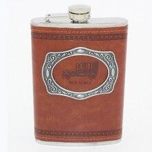 Freies Verschiffen! Gürtel portable Edelstahl 9 Unze/250 ml Flachmänner Gefäße russische Malerei Glaskolben Whiskey Flasche Wein Flasche