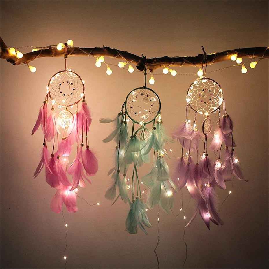 Dreamcatcher Decor With 2M 20LED Copper Wire Fairy String Lights For Girl Room Bell Bedroom Living Room Decoration Romantic Gift