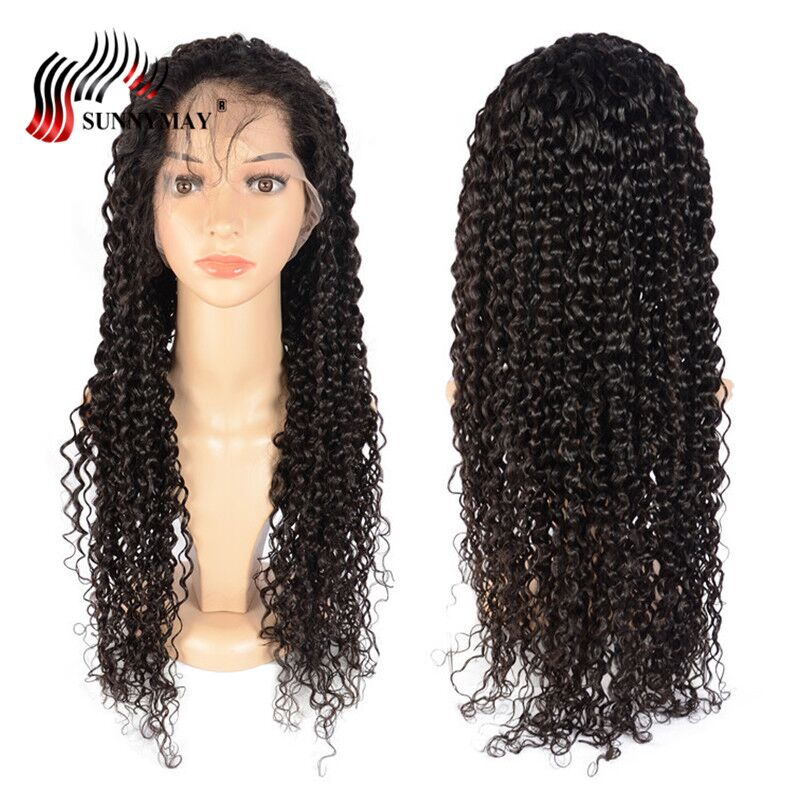 Sunnymay Onda Espanhola Cheia Do Laço Perucas de Cabelo Humano Pré Arrancadas Nós Descorados Brasileiro Virgem Cabelo Full Lace Wig Com Bebê cabelo