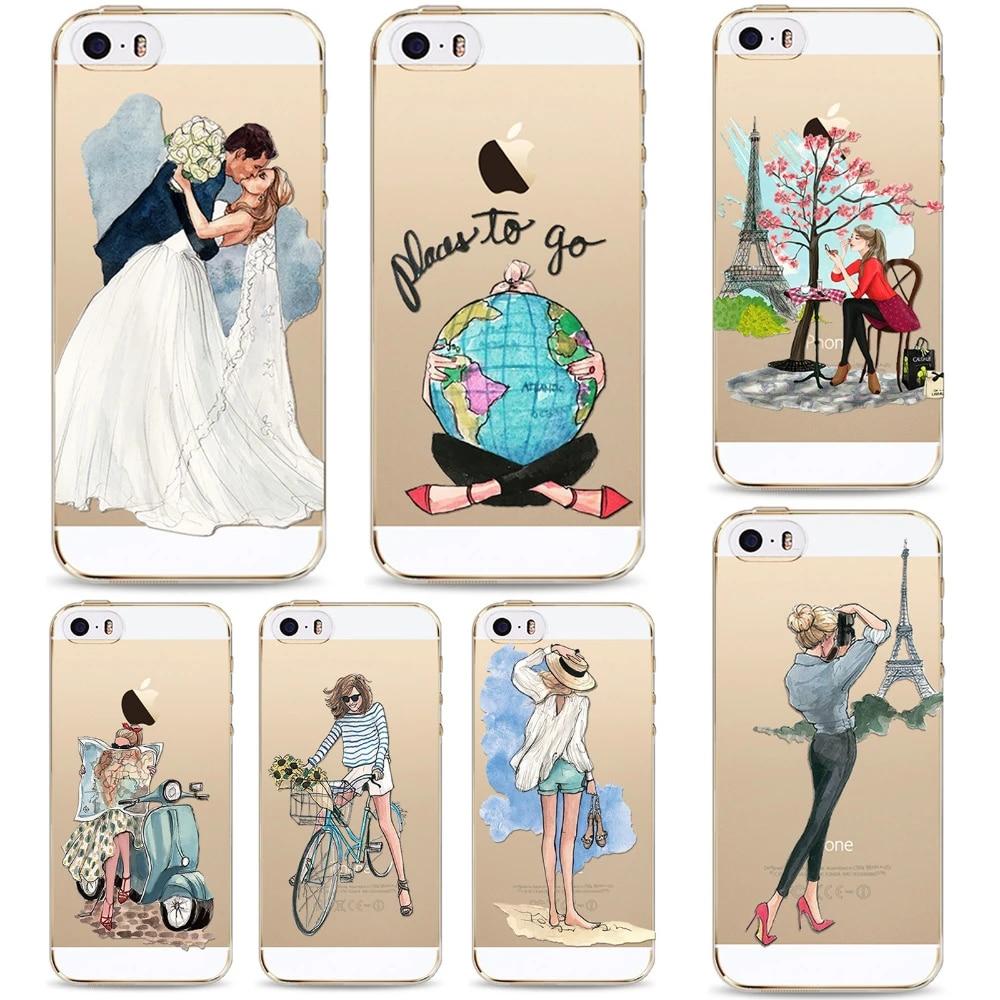 Coque arrière coques de téléphone Transparent Transparent TPU voyage fille motif de dessin coloré pour iPhone 5 5 s SE coque de protection