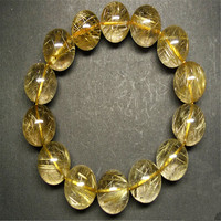 Just One Genuine Natural Yellow Gold Hari Needle Round Bead 16 17mm Crystal Stone Women And Mens Charm Rutilated Quartz Bracelet