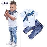 Одежда для маленьких мальчиков, Повседневная футболка + шарф + джинсы, комплект одежды для малышей из 3 предметов, летний детский костюм для м...