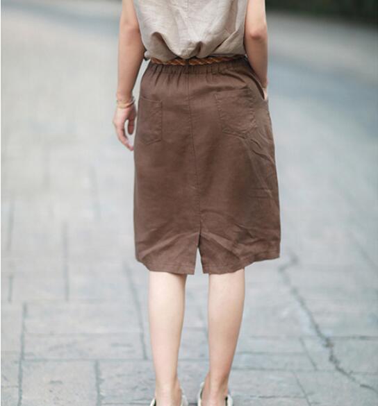 Gran Tamaño Alta Mujeres Falda Algodón Jacquard Arte Primavera Elástica Cintura Las Cáñamo De Ropa Una Femenina Faldas Nueva xCwCnpqzPv