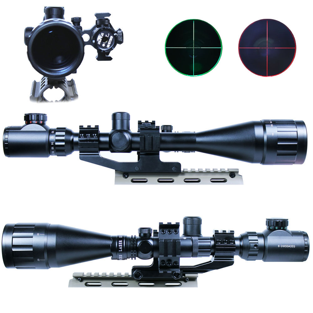 6-24x50 Tactical Rifle Scope Hunting Optics Scope Mil-dot illuminated Snipe Scope+Dot Red Laser Sight+Double Ring 2 5 10x40e r tactical rifle scope mil dot dual illuminated w red laser