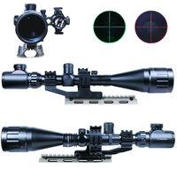 6 24x50 Tactical Rifle Scope Hunting Optics Scope Mil dot illuminated Snipe Scope+Dot Red Laser Sight+Double Ring