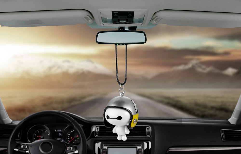 HTB1S9crXOOYBuNjSsD4q6zSkFXaj Car Pendant Cute Helmet Baymax Robot Doll Hanging Ornaments Automobiles Rearview Mirror Suspension Decoration Accessories Gifts