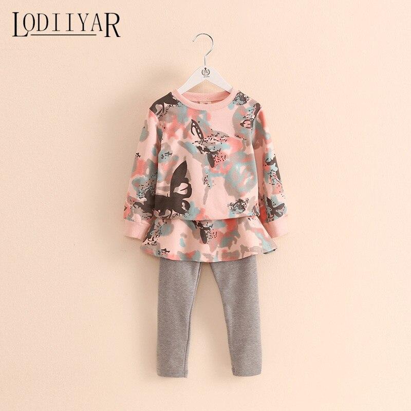 Baby Girls Clothing Sets Long Sleeve Pullover + Leggings 2017 Autumn Winter Printed Flowers Cotton Children Clothes антисептик dali универсальный рогнеда 5л