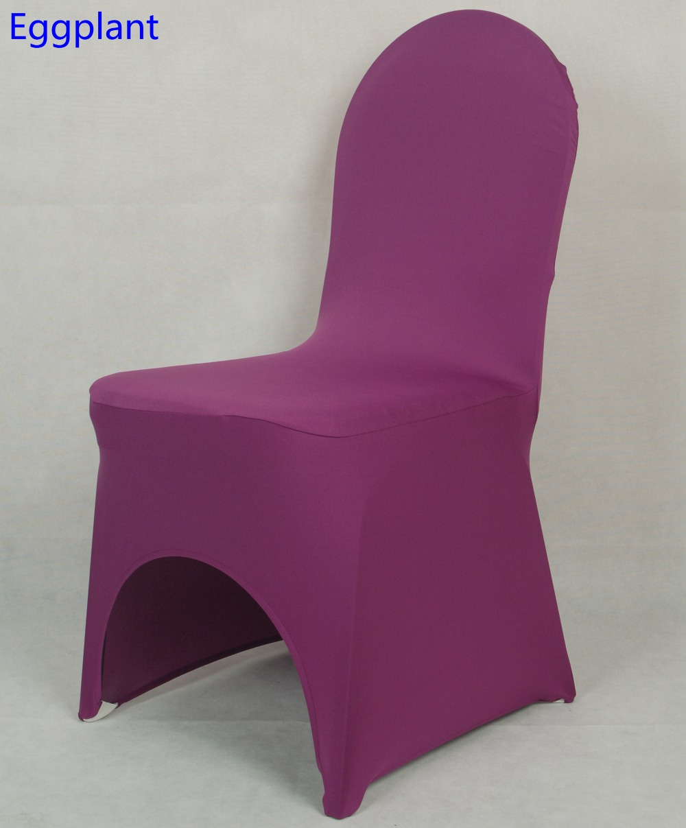 Eggplant Colour Chair Cover Lycra Cover For Wedding Universal Banquet Chairs  Decoration Wholesale On Sale Dinner