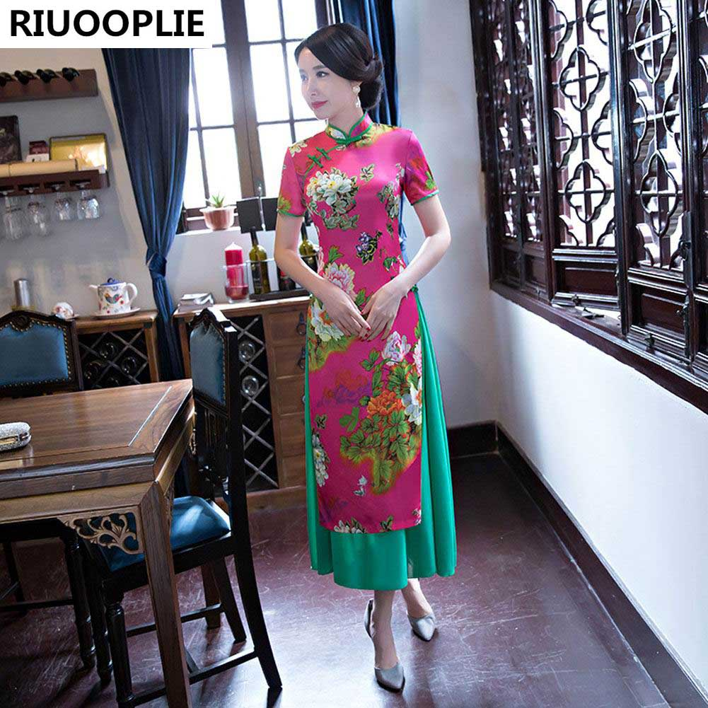 RIUOOPLIE Hinese Style Dress Femme Jupe Qipao Jacquard Robe De - Vêtements nationaux - Photo 5