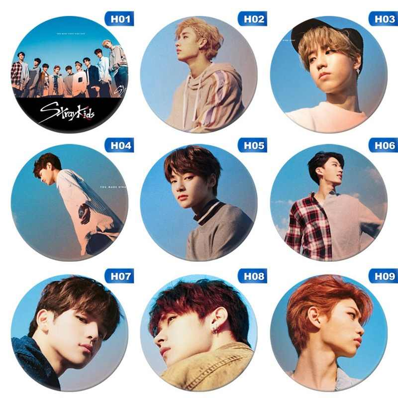 Kpop Stray Kids Round Badge For Bag Hats Clothes Fashion Chest Pins Brooch Accessories