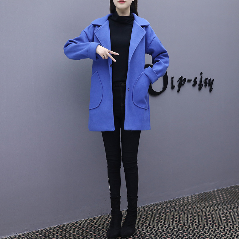 Office Lady Slim Women Long Winter Wool Blend Coat Turn-down Collar Wool Coat and Jacket Covered Button Outerwear
