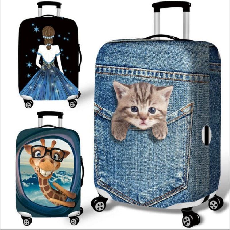 Elastic Luggage Protective Cover Cartoon Cat 18-32 Inch Trolley Suitcase Protect Dust Bag Case Child Cartoon Travel Accessories