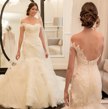 robe de mariee Elegant One Shoulder Trumpet Mermaid 2018 Wedding Dresses NEW Applique Lace Pleats Sweep Train Bridal Gown