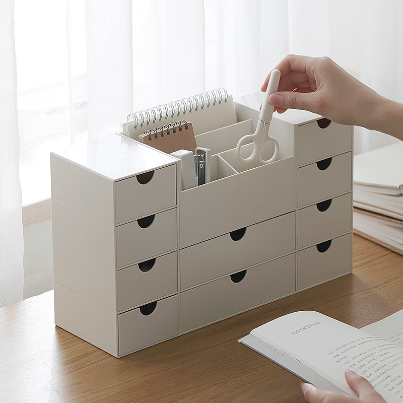 AILA Simple Drawer Plastic Desktop Storage Box Removable Office Living Room Storage Box ...