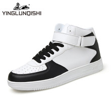 Classic White High Top Men Casual Shoes 2016 Winter Men's Buckle Lace-up Leather Platform Shoes Patchwork Trainers