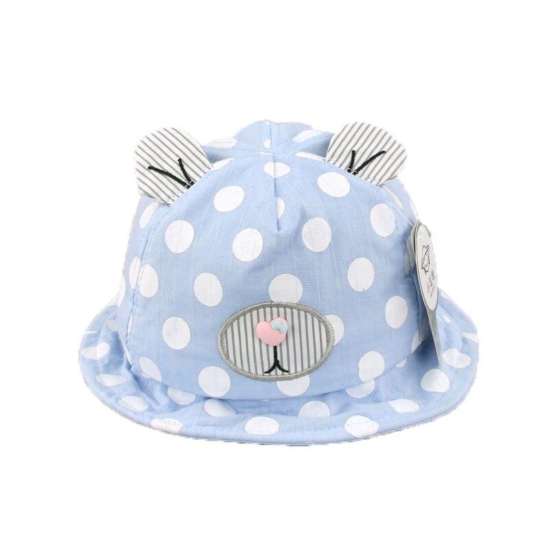 2018 Baby Unisex Dome Bucket Hats Kids Bear Design Polka Dot Mesh Fisherman Caps Sun Protective Ear Hat MZ5587