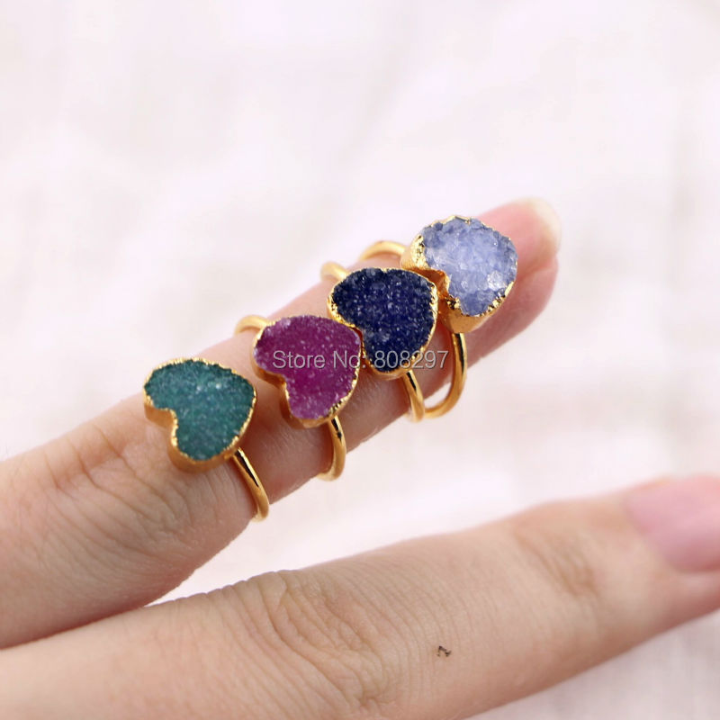 10Pcs Jewelry Girls Ring Gold Color Natural Rainbow Heart 2017 Adjustable Ring Fashion Jewelry Rings