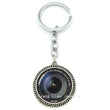 2016 New DSLR Lenses camera art pendant keychain glass cabochon ring jewelry key chain Lens Photography friend gift T371 T372(China)