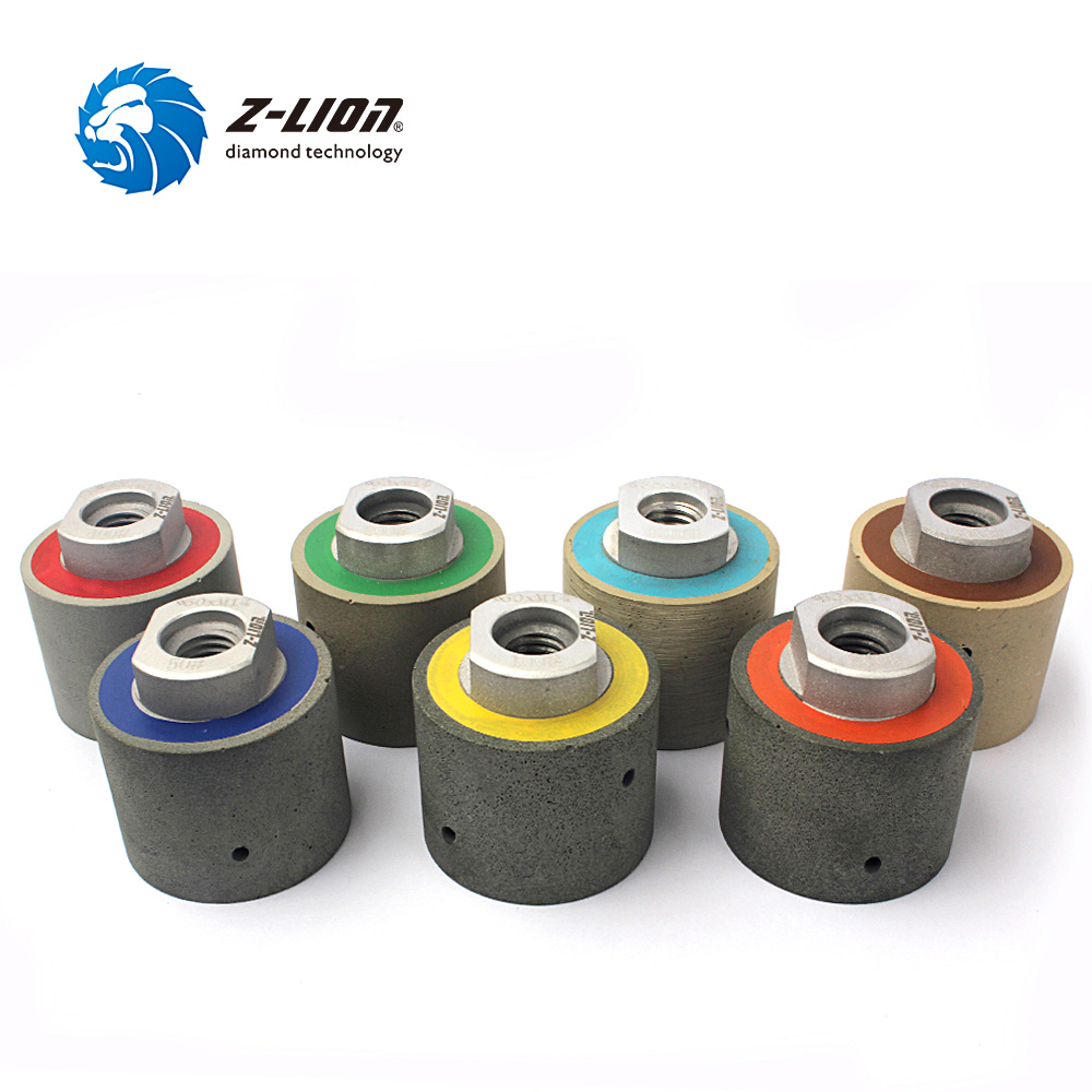 Z-LION 2 Diamond Resin Drum Polishing Wheels 7pcs/Set Zero Tolerance Wet Diamond Polishing Drums For Granite Marble Concrete