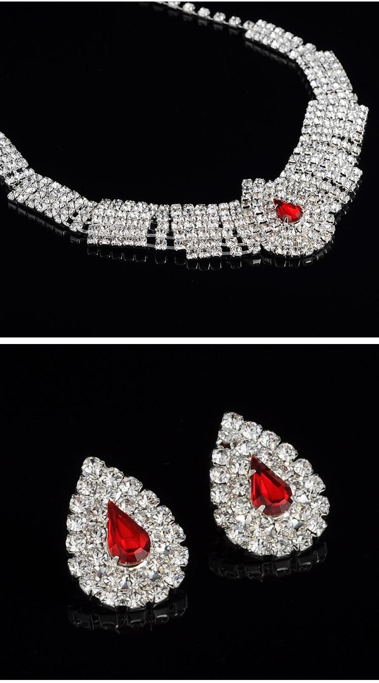 (8) - Bijoux De Mariage Luxueux, Goutte Boucle D'oreille Collier Ensemble Autriche Cristal,
