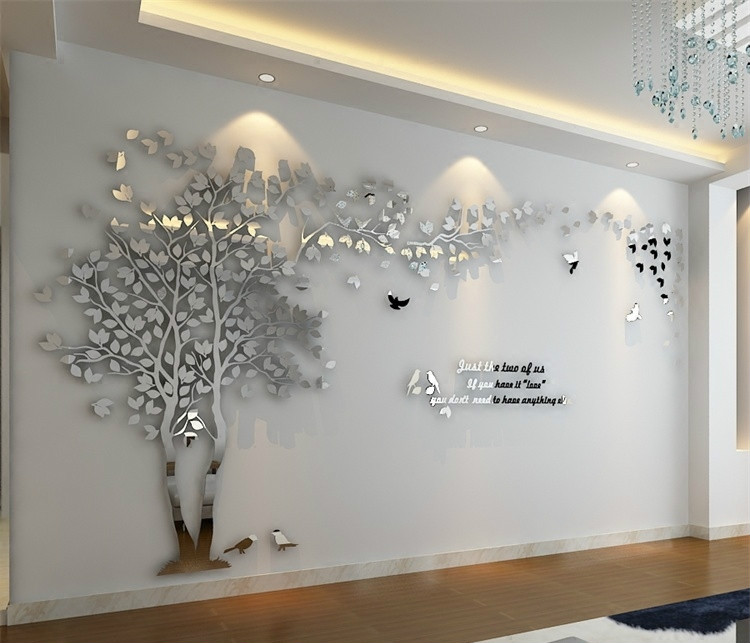 Leaves birds crystal three-dimensional Tree wall stickers acrylic - Home Decor - Photo 3