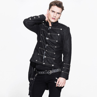Steampunk Gothic Men's Winter Rock Jacket Long Sleeve Visual Kei Asymmetric Jackets Male Fashion Military Thick Short Coat