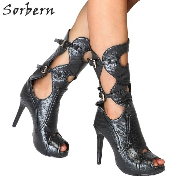 2cc96332f1dc57 Sorbern Poissons Échelle Mi-mollet Femmes Bottes À Bout Ouvert Boucle  Sangles Talons hauts Piste Chaussures Fétiche Talons hauts Dames Chaussures  taille 43