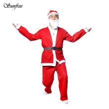 Sunfree 2018 Hot sale 5 kawałek Christmas Santa Claus kostium dorosły zestaw Brand nowe i wysokiej jakości OCT 3 tanie tanio Costumes Spodnie Top COCKCON w Mężczyzn Szczyty #3010 Holiday kapelusz * 1 Pasek * 1 broda * 1 Tkanina nietkana Jak pokazuje obraz