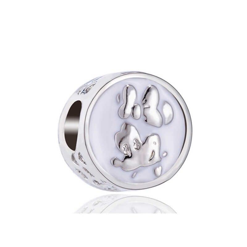 Maxi DIY joyería Arco Iris helado Bowknot corazones Mickey esmalte cuentas ajuste Pandora dijes pulseras para mujeres amantes DIY Perles