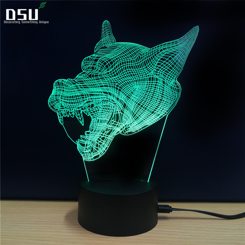Cheetah Leopard Open the Mouth 3D Light Deco LED Table Lamp USB Charge Bedroom Living Room Bar Atmosphere Decor Acrylic Lamp