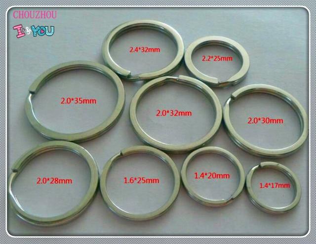 100 piezas de acero inoxidable diámetro del anillo dividido de 17mm a 35mm accesorios de conector de doble anillo de alta resistencia