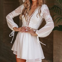 Fashion 2019 Women Summer Beach Dress Sexy V Neck Open Back Lace Up Ruffles Lace Hollow Out Mini Dresses Casual White Dress maggie carpenter cowboy s rules