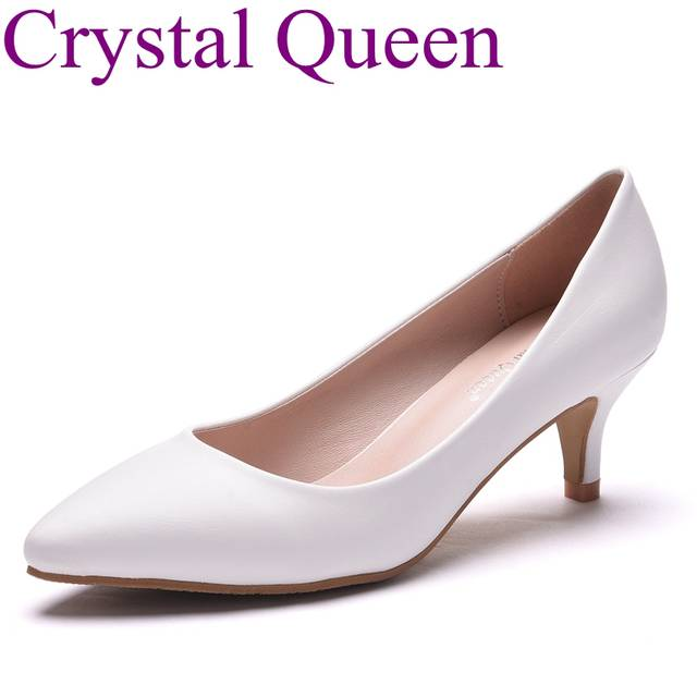 5cm heel white elegant heels thick heel pointed toe pumps office lady women  shoes red shoes 3080ba42be15