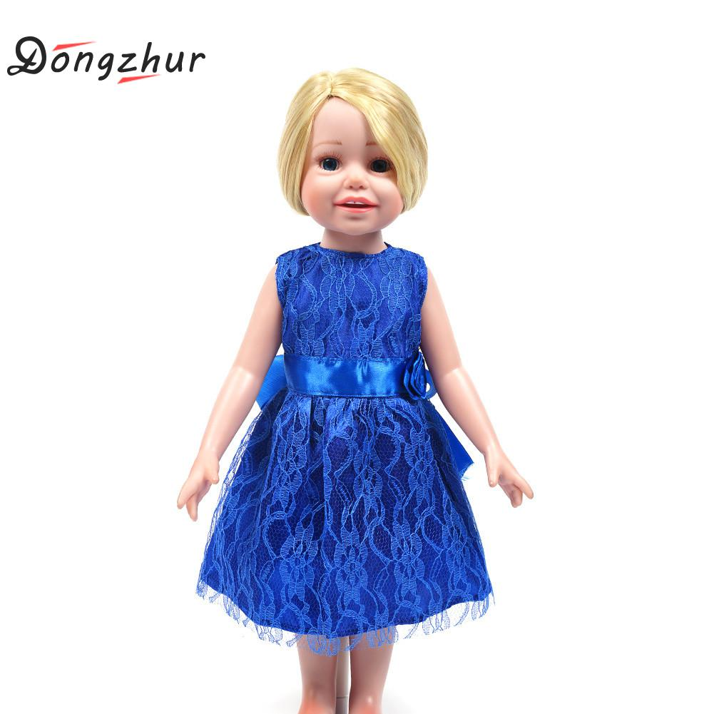 Dongzhur 18 Inch American Girl Doll Fashion Handmade Cute Blue Clothes Dress Fit American Girl Doll Party Roupas De Boneca Dress american girl doll clothes batman cloak dress cosplay costume doll clothes for 16 18 inch dolls madame alexander doll mg 201