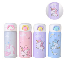 2018 New 500ml unicorn double layer Stainless steel Insulated baby travel thermos bottles children milk fruit juice Vacuum Flask