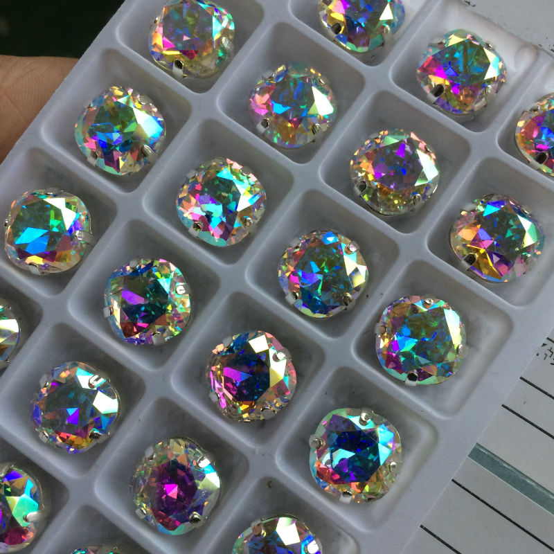4470 Cushion Cut <font><b>Square</b></font> Crystal AB Glass Beads Clear Crystal Sewing Fancy Stones With Claw Settings Sew on Clothes