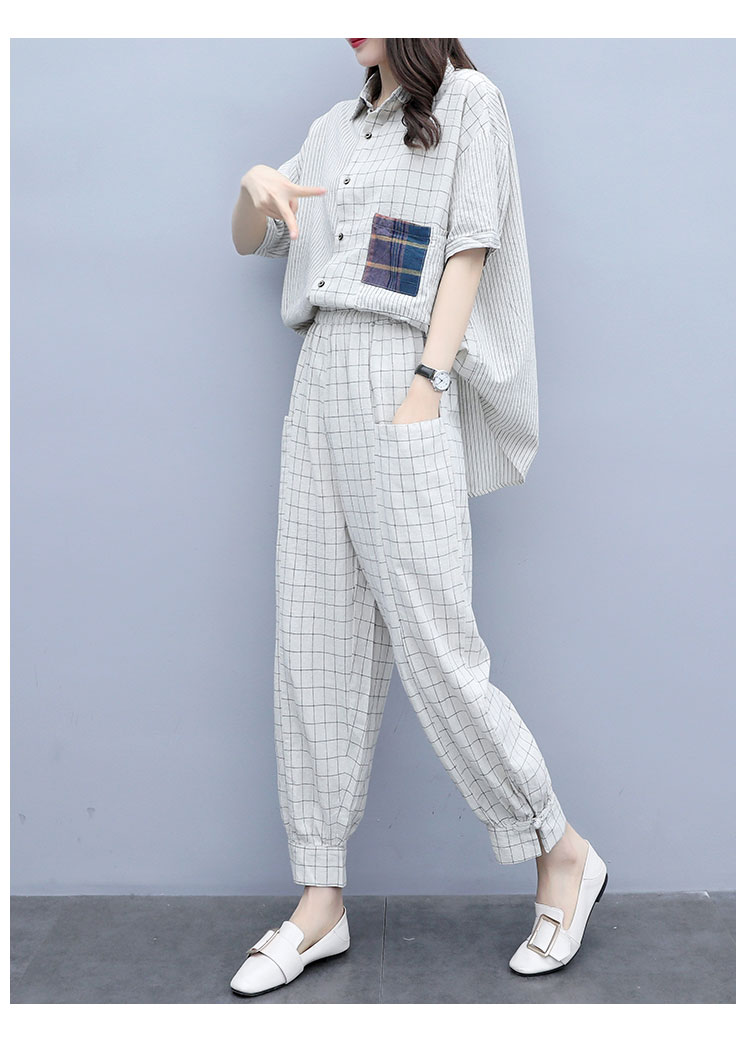 Summer Plaid Two Piece Sets Outfits Women Plus Size Short Sleeve Shirts And Pants Suits Casual Fashion Loose 2 Piece Sets Mujer 25