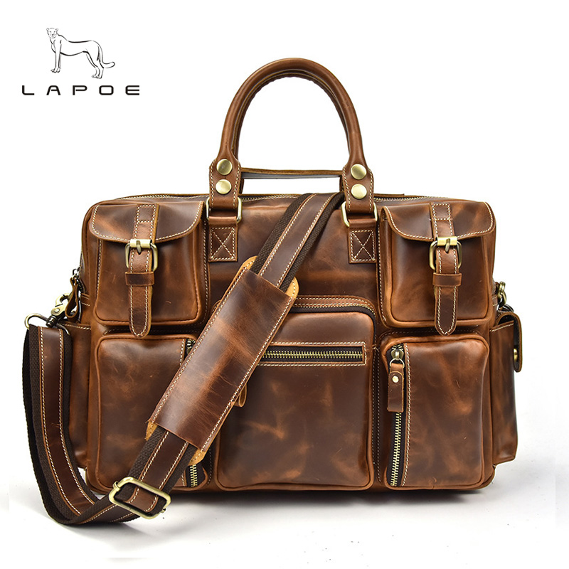 Men's Briefcase Tote Messenger Bag Travel Laptop Bag Men Document Business Briefcase Male Genuine Leather Attache Portfolio Bags