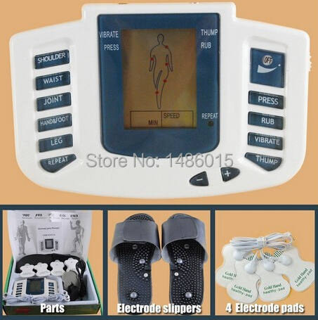Electrical Stimulator Health care Full Body Relax Muscle Therapy Massager Pulse tens Acupuncture with slipper+ 8 pads JR-309 electric massager electrical stimulator full body relax muscle therapy massager dual output massage pulse tens acupuncture
