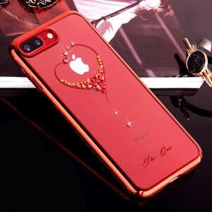 Image 3 - 원래 Kingxbar Electroplated 하드 PC 크리스탈 라인 석 케이스 애플 아이폰 7 8/플러스 럭셔리 슬림 다이아몬드 다시 케이스 커버