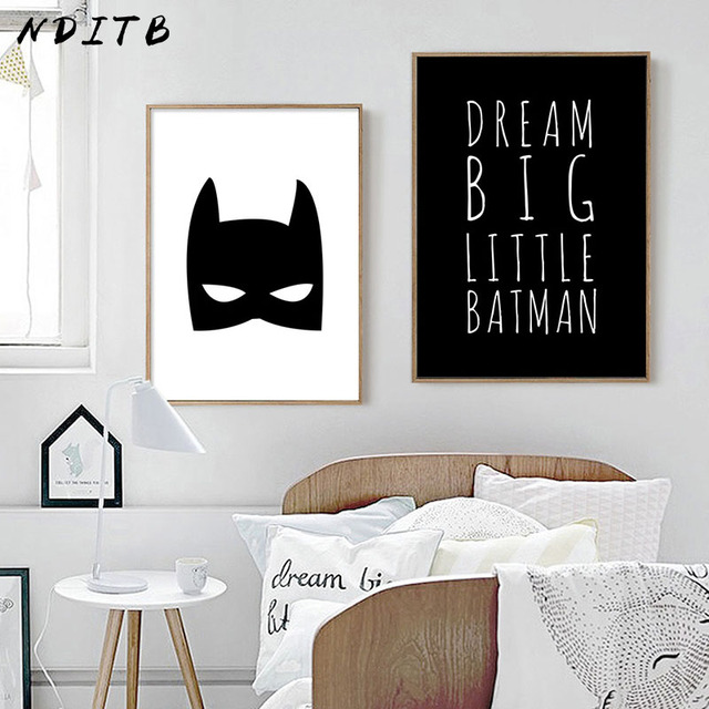 Nditb Batman Mask Canvas Wall Art Poster Cartoon Superhero Nursery Print Painting Decorative Picture Baby Boys Room Decoration