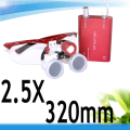 New Red 2.5 X Dental Surgical Binocular Loupes Dentist 320mm +LED Head Light N+F 188041-AAA