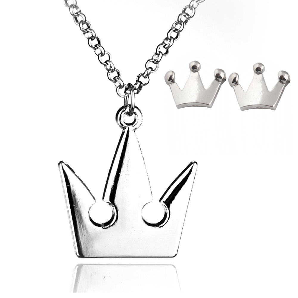 Game Jewelry Kingdom Hearts Silver Royal Crown Pendant Necklace Fashion Sora Chain Neckl ...