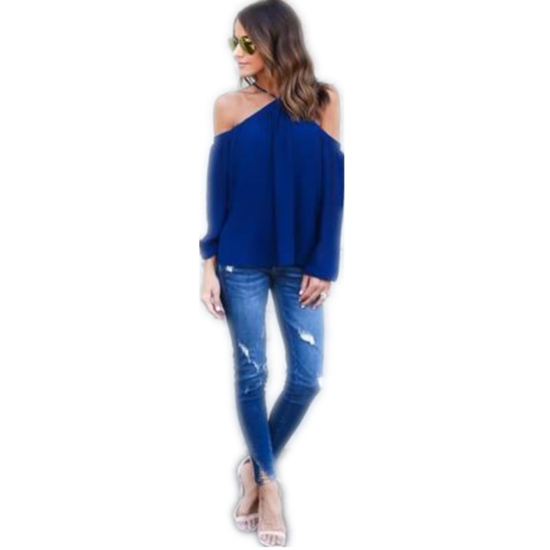 2017 Royal Blue Summer Women Off Shoulder Long Shirts Sexy Chiffon Tops Blouse Blusas Femininas Long Sleeve Casual Plus Size